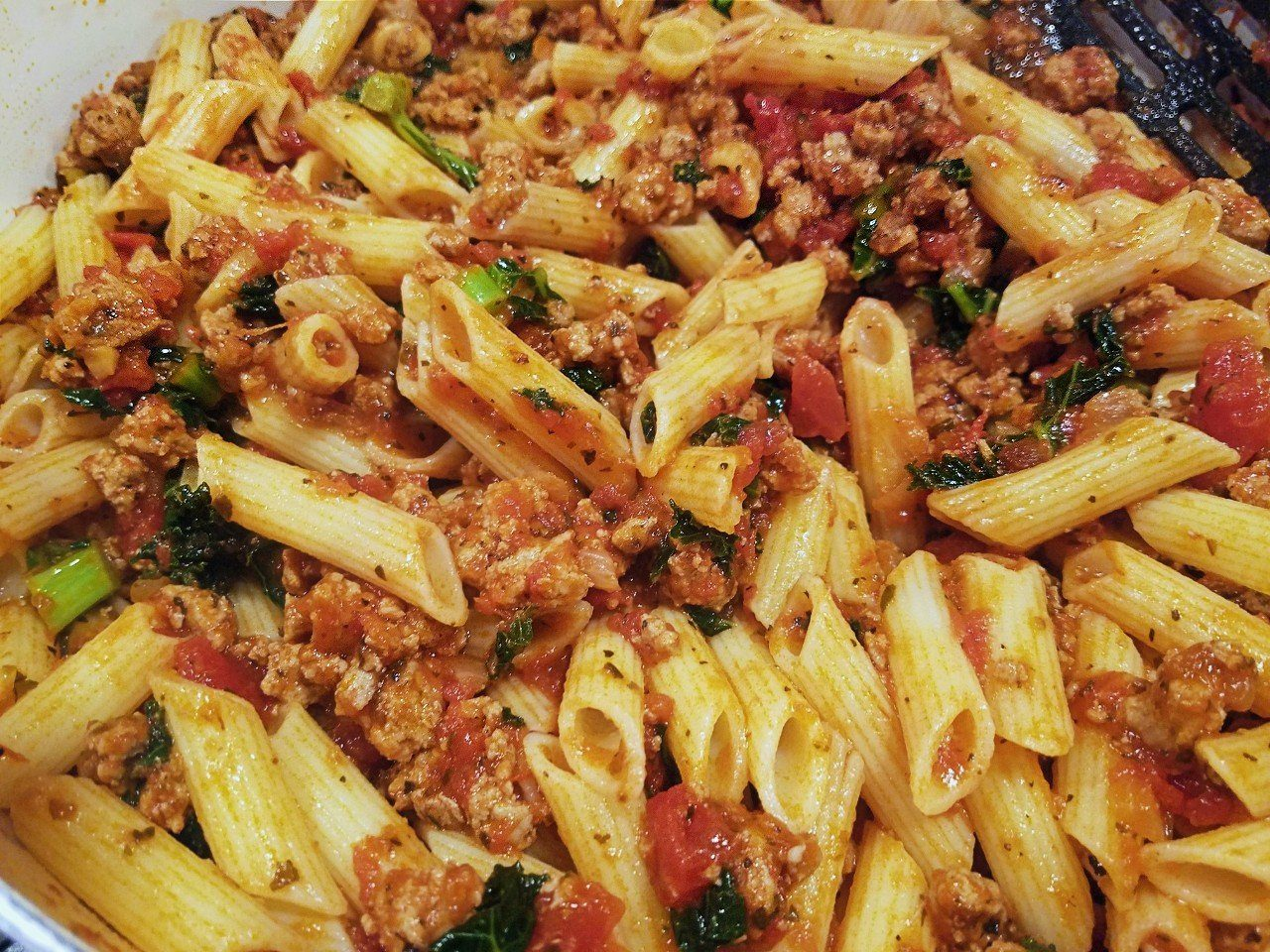 ground turkey meat sauce with kale and gluten-free penne