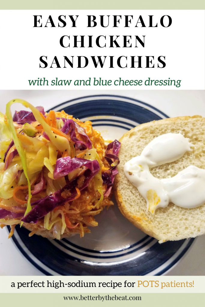 Recipe for easy buffalo chicken sandwiches with slaw